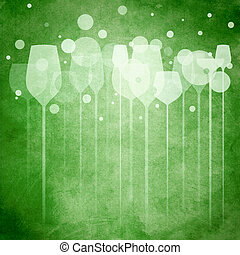 Green Party Glasses - A funky illustration of various...