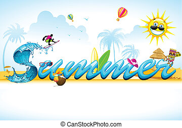 Summer Background - illustration of summer background with...