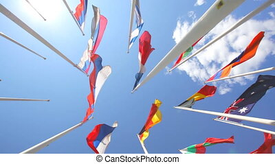 Flags of the different countries on