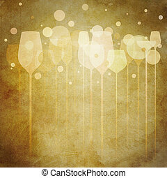 Vintage Party Glasses - A funky illustration of various...