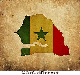 Vintage map of Senegal on grunge paper