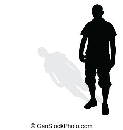 man standing silhouette black vector on white
