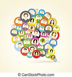 Abstract speech cloud of network avatars