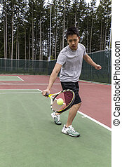 Tennis Single handed backhand - Young Asian Man using single...