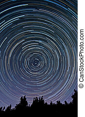 Startrails - View of a stratrails on the night sky.