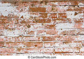 Flaked-off whitewashed brick wall - Abstract background:...