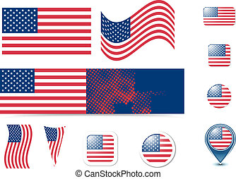 United States of America flag and buttons set, eps10 vector...