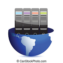 Servers and communication illustration design over white