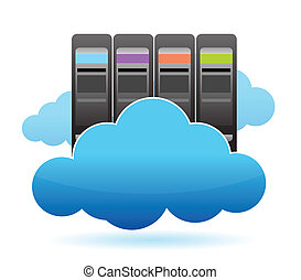 Servers and Clouds illustration