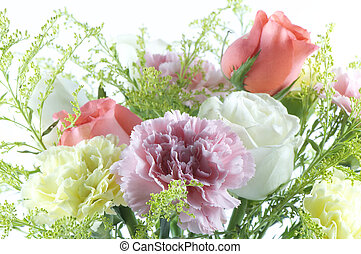 flower bunquet with roses, carnations and statices, used in...