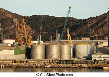 Fuel storage tanks at the industrial port