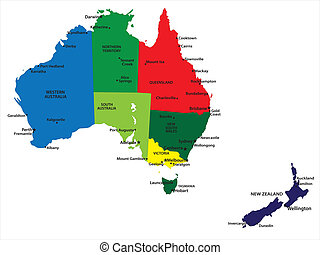 Australia and New Zealand - Vector map of Australia and New...