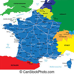 France map - Highly detailed map of France.Each country and...