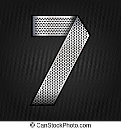 Number metal chrome ribbon - 7 - seven - Number metallic...