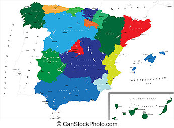 Political map of Spain - Highly detailed map of Spain with...