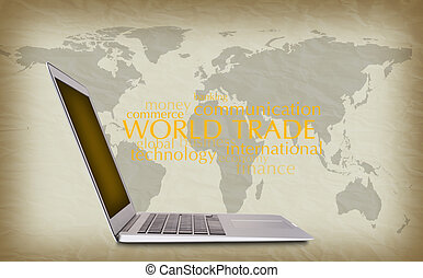 concept of international trade, notebook, words, background
