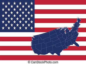 United states of America map & flag