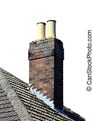 Chimney on roof isolated - Chimney on tiled roof isolated on...