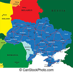 Ukraine map - Highly detailed map of Ukraine.Each country...