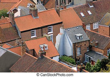 Urban houses - Aerial view of urban housing showing rooftops...
