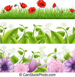 Borders With Flowers And Grass, Vector Illustration