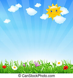 Cartoon Landscape With Sun And Clouds, Vector Illustration