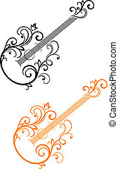 Guitar with floral elements in retro style for musical...
