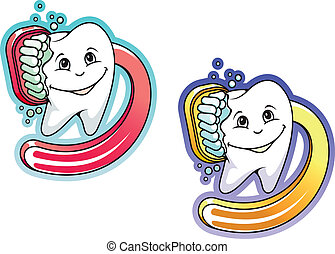 Cartoon toothbrush and paste