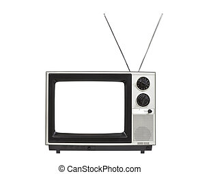 Vintage Portable TV with Antennas Isolated
