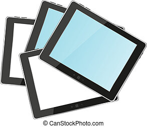 Vector tablets pc with empty white and blue screen