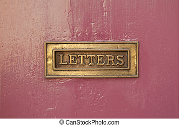 Letter Box - rose door and close up of a mail box with the...