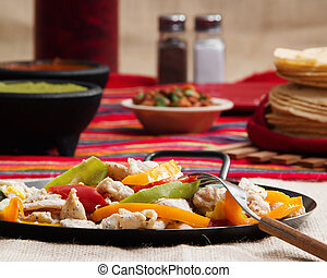 Chicken Fajitas - Stock image of chicken fajita plate on...