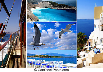 Set of summer photos of Cyclades islands, Greece
