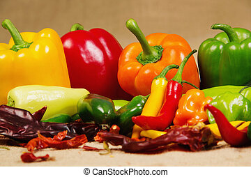 Chilli pepper still life - Stock image of chilli pepper...