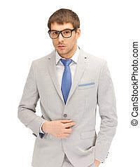 calm businessman in spectacles - portrait picture of calm...