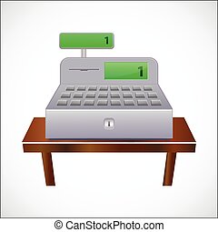 Cash register with closed drawer - vector illustration