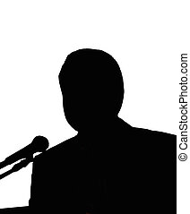 Silhouette of the man with microphone - Silhouettes of the...