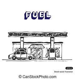 Fuel station. Hand drawn vector illustration on white