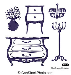 Furniture set Hand drawn vector illustration on white