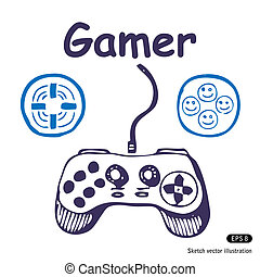 Gamepad and multiply icons. Hand drawn vector illustration...