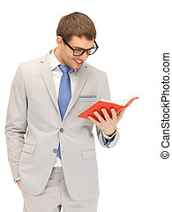happy man with book - bright picture of happy man with book