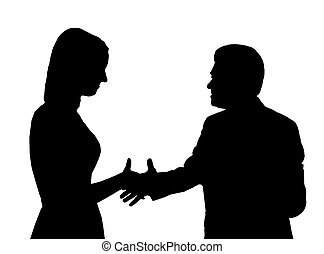Silhouette of the man shaking hand to young woman - the man...