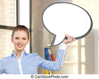 smiling businesswoman with blank text bubble - bright...