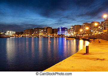 Urban street scene at night - Night view of Sliema, near...