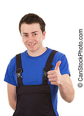 Workman with overalls