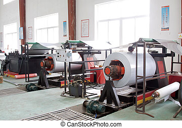 steel raw materials in a factory workshop