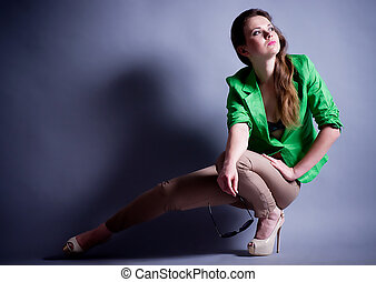 young woman in fashion clothes - Beautiful young woman in...