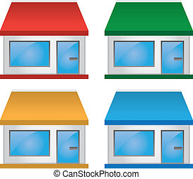 Store Front with Awning Colors - Store shop front various...
