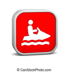 Jet ski sign on a white background. Part of a series.