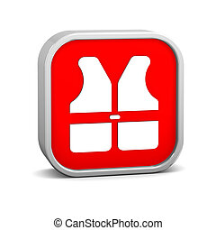 Lifejacket sign on a white background. Part of a series.